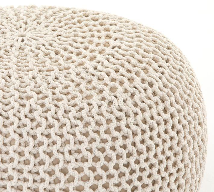 Jute Knit Pouf, Ivory