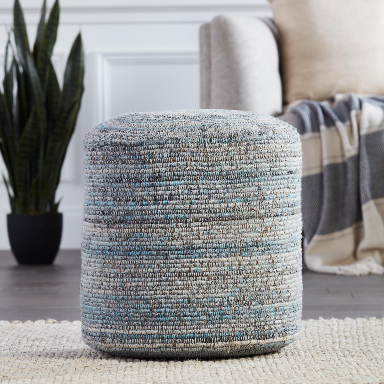 Duro Stripes Light Blue/ Gray Cylinder Pouf