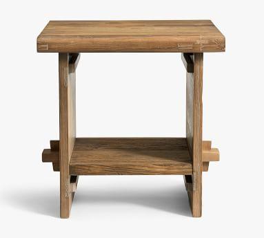 Easton Reclaimed Wood End Table, Weathered Elm