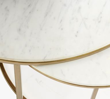 """Delaney Marble Round Coffee Table, White Marble, 38""""L"""