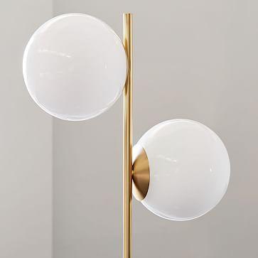 Sphere + Stem Floor Lamp, Brass/Milk Glass, 2-Light
