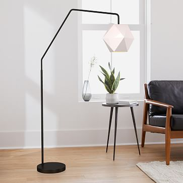 Sculptural Overarching Floor Lamp, Faceted Small, Milk, Polished Nickel