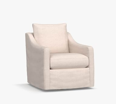 Ayden Slope Arm Slipcovered Swivel Glider, Polyester Wrapped Cushions, Park Weave Ash