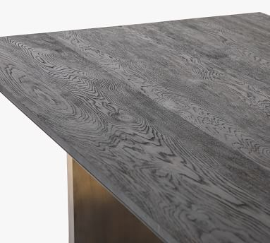 Anderson Dining Table, Ombre Antique Brass & Worn Black Oak
