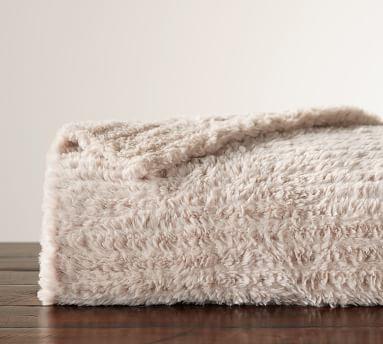 "Knitted Faux Fur OS Throw, 60x80"", Dark Gray"