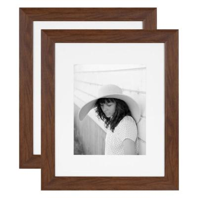 Kate and Laurel Edson 16 in. x 20 in. matted to 11 in. x 14 in. Walnut Brown Picture Frames (Set of 2)