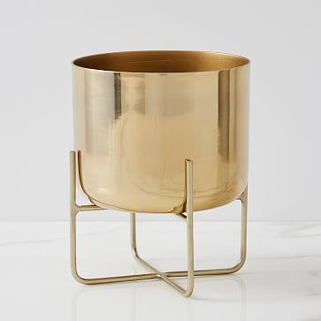 Spun Metal Tabletop Planter, Medium, Antique Brass
