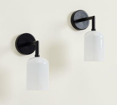 Matte Black Amelie Milk Glass Single Sconce