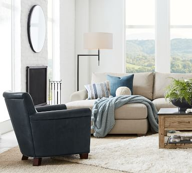 Irving Roll Arm Leather Armchair, Polyester Wrapped Cushions, Vegan Java