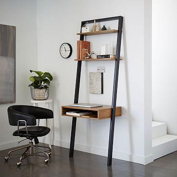 ladder shelf storage leaning wall desk - white lacquer/espresso