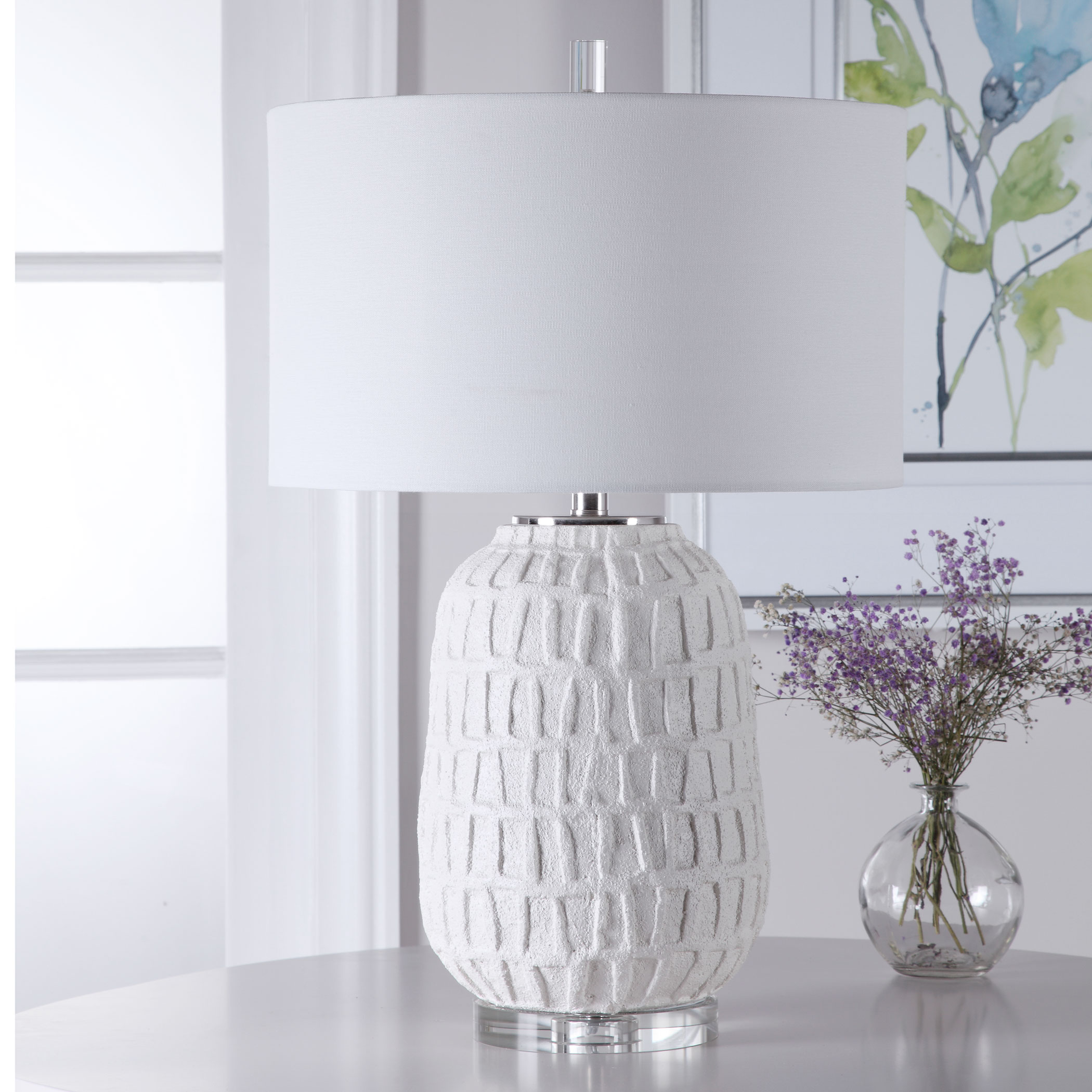 Caelina Textured White Table Lamp