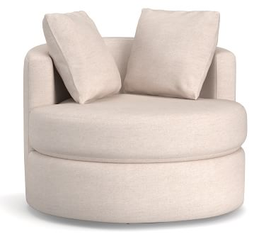 Balboa Upholstered Swivel Armchair, Polyester Wrapped Cushions, Performance Heathered Tweed Pebble