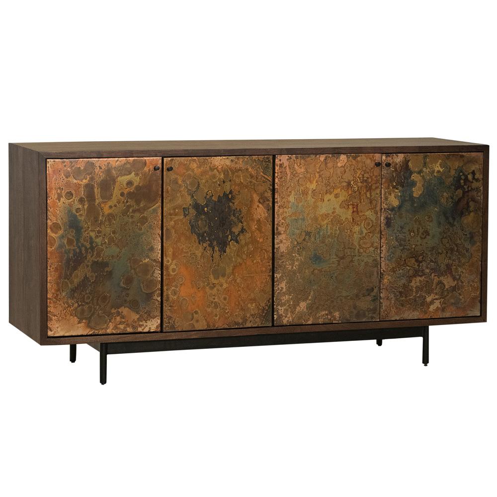 Vivian Mid Century Modern Dark Acacia Wood Reactive Steel 4 Door Sideboard