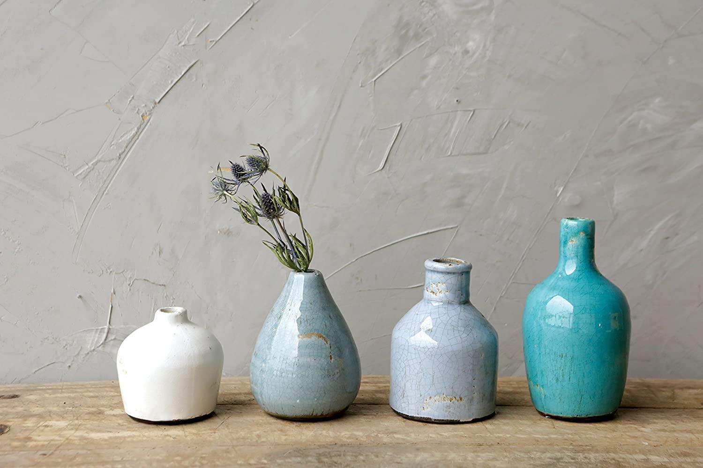 Terracotta Vases, Blue & Ivory, Set of 4