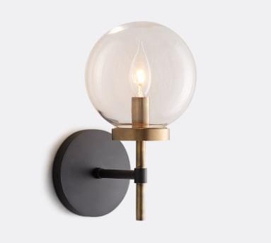 Camryn Glass Sconce, Bronze & Antique Brass