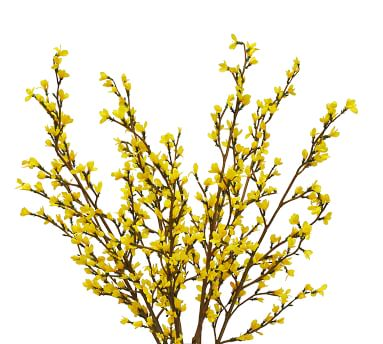 Faux Yellow Forsythia Branches Composed Arrangement, Round Glass Vase - 32''