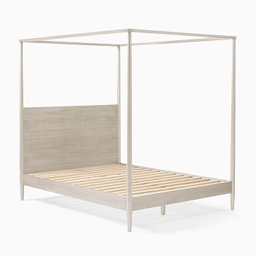 Mid-Century Canopy Bed, King, Pebble