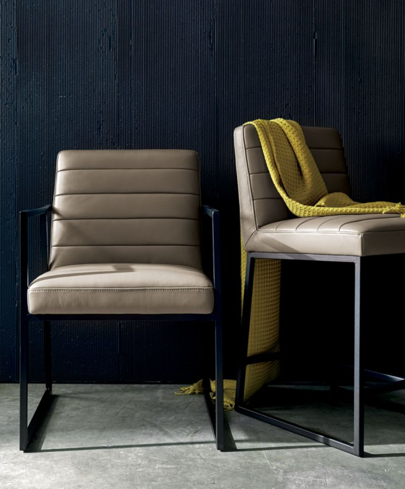 Channel Leather Arm Chair