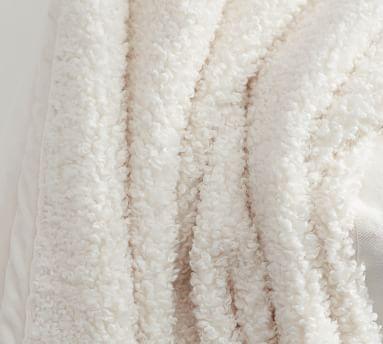 "Cozy Teddy Faux Fur Throw, 60 x 80"", Ivory"