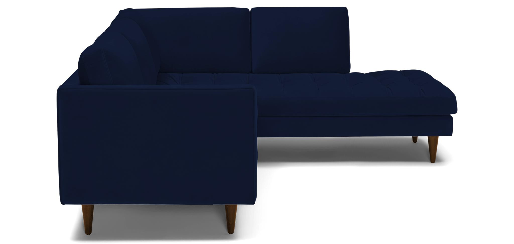 Blue Briar Mid Century Modern Sectional with Bumper - Royale Cobalt - Mocha - Right