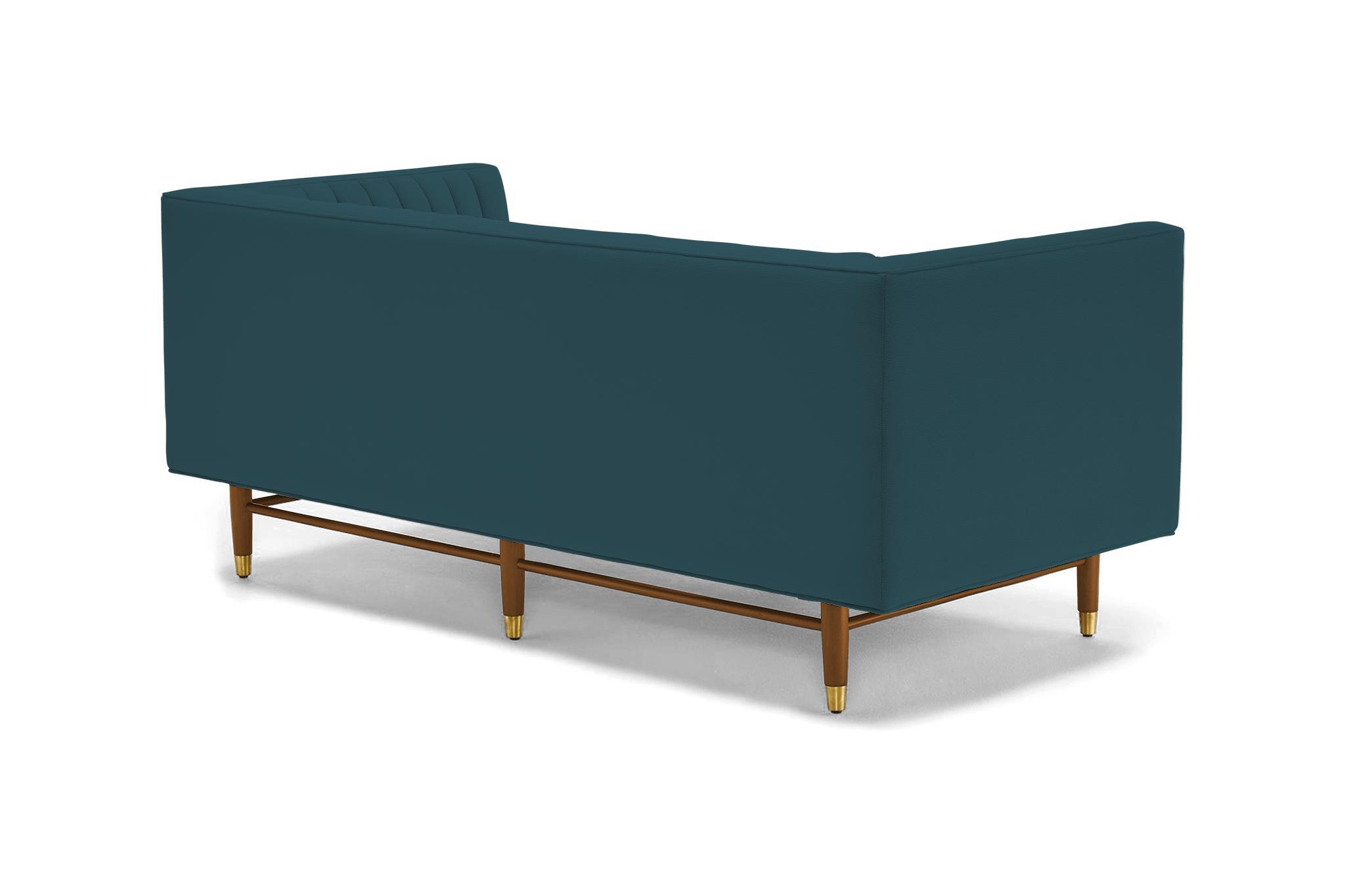 Blue Chelsea Mid Century Modern Apartment Sofa - Sunbrella Premier Lagoon  - Mocha