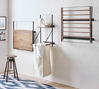 "Trenton Tiered Shelf, Aged Wood & Iron, 24.25""W x 25.5""H x 12""D"