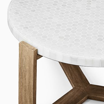 Mosaic Coffee Table Neutral Penny Marble + Driftwood Coffee