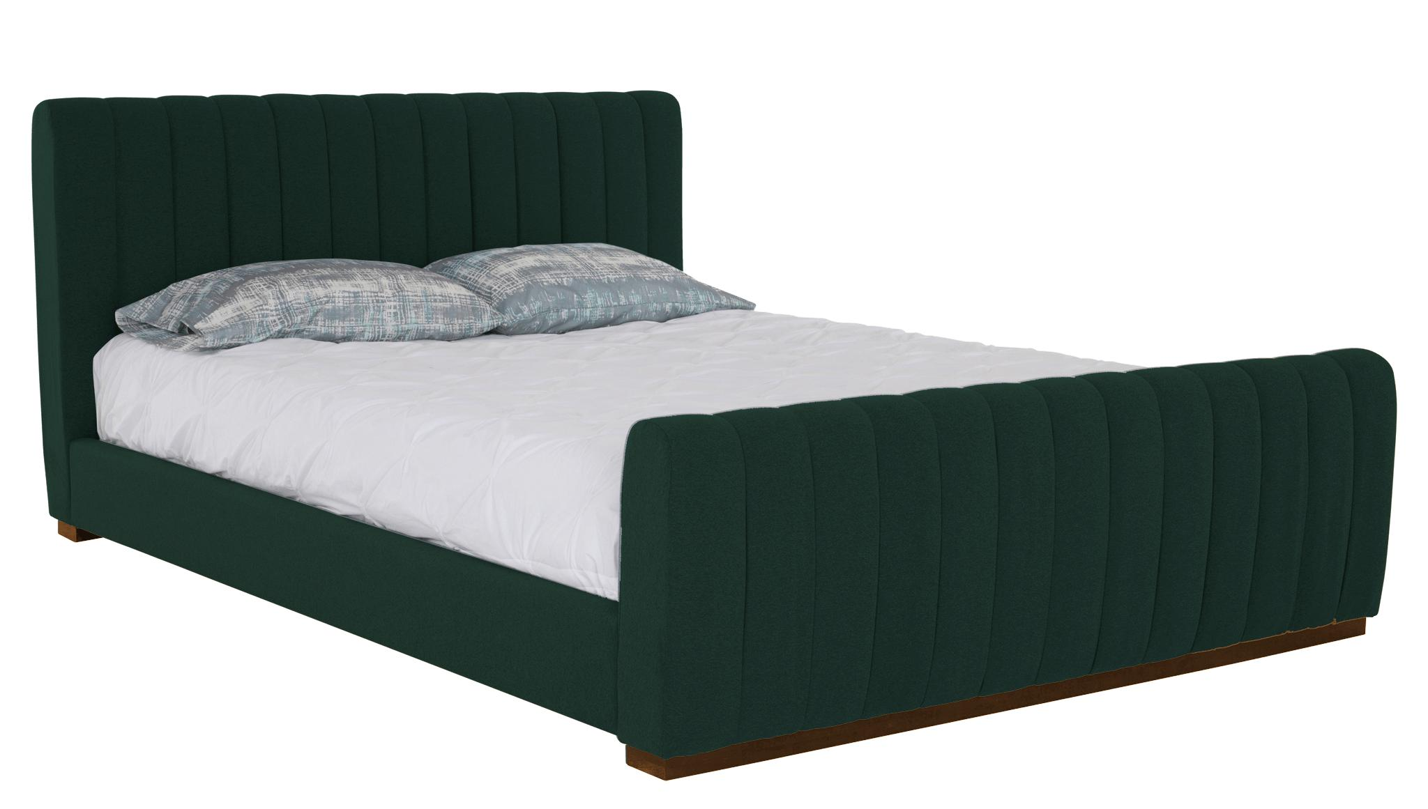 Green Camille Mid Century Modern Bed - Royale Evergreen - Mocha - Eastern King