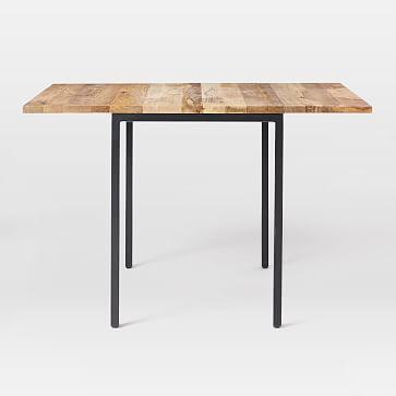 """Box Frame Drop Leaf Dining Table, 24-48"""" Raw Mango"""