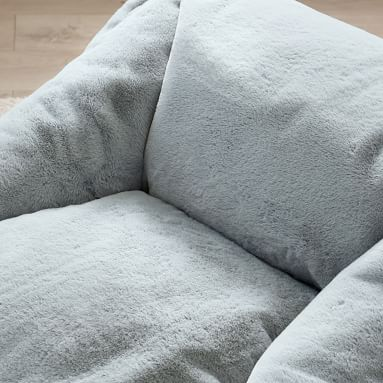 Recycled Faux-Fur Modern Lounger, Quarry
