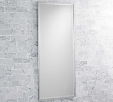 "Matte Black Kensington Slim Rectangular Mirror, 20 x 42"""