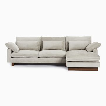 Harmony Sectional Set 02: Right Arm 2.5 Seater Sofa, Left Arm Chaise, Down Blend, Distressed Velvet, Dune, Walnut