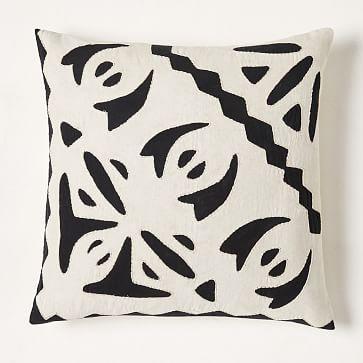 "Cotton Linen + Velvet Corners Pillow Cover, 12""x21"", Black"
