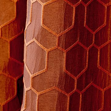 "Honeycomb Jacquard Curtain, Burnt Copper, 48""x96"""