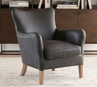 Clark Leather Armchair, Polyester Wrapped Cushions, Vintage Caramel