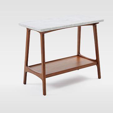 Reeve Side Table Long Narrow, Marble/Walnut