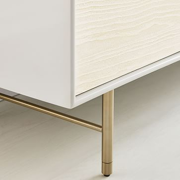 """Modernist Wood + Lacquer Media Console, 80"""", Winter Wood"""
