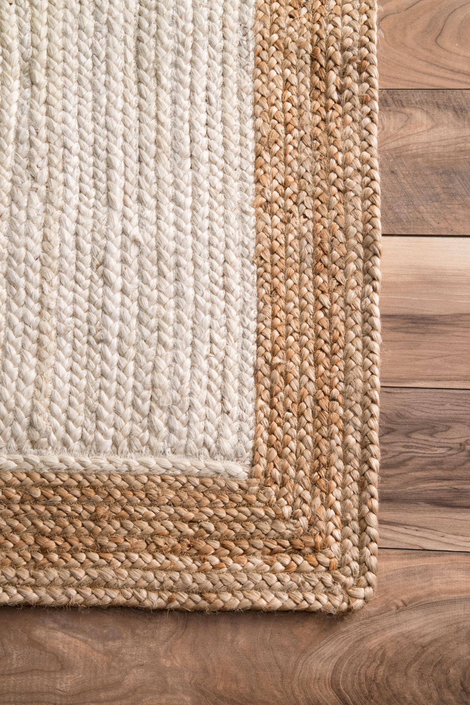 Hand Woven Eleonora Area Rug, 8' x 10', White & Tan