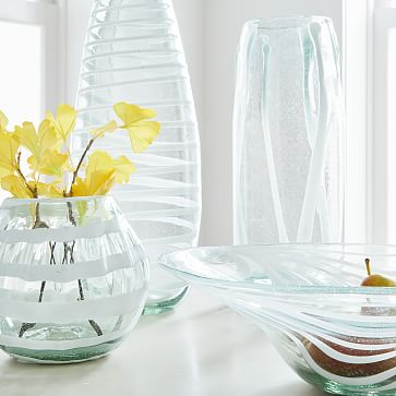 White Mexican Glass Vase, Tall Tapered