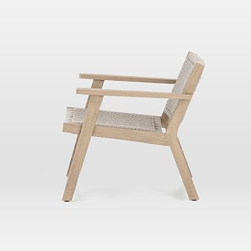 Teak Wood + Rope Outdoor Chair, Washed Brown