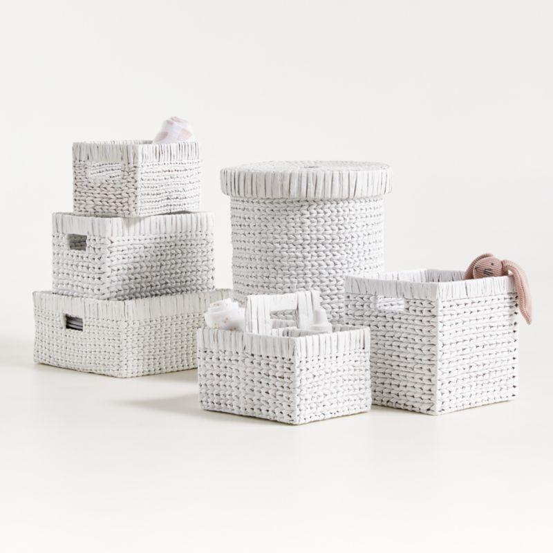 "White Wonderful Wicker 11"" Cube"
