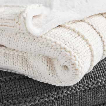 Faux Fur Chunky Knit Throw, Heathered Pewter