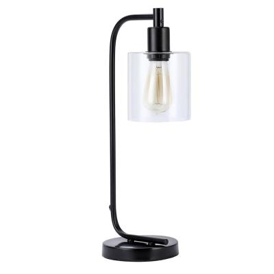 Merra 19 in. Black Industrial Desk Lamp with Clear Glass Shade