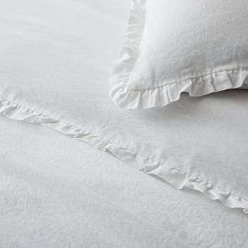 European Linen Ruffle Duvet, Full/Queen Duvet Cover, Terracotta Melange