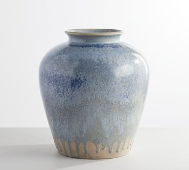"Ceramic Seehorn Vase, Periwinkle, 14.5""H"
