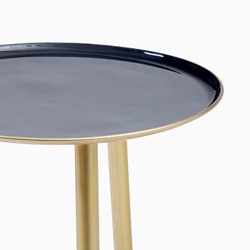 Jett Blue Enamel/Brass Side Table