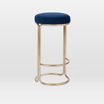 Cora Counter Stool, Astor Velvet, Steel Blue, Light Bronze
