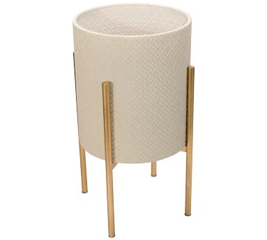 Leah White Patterned Raised Planters with Gold Stand, Set of 2