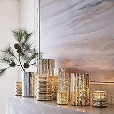 Decorator Mercury Hurricanes, Large, Light Gold, Set of 2