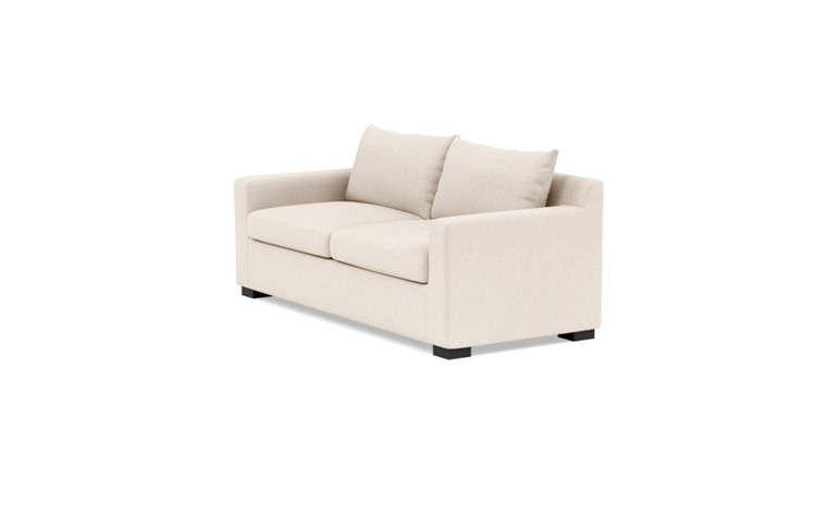 Sloan Sleeper Sleeper Sofa with Beige Natural Fabric, standard down blend cushions, and Painted Black legs